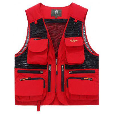 Heren Multi-Pocket Vest effen kleur Casual Vest