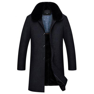 Plus Velvet middelbare leeftijd Casual comfortabele, warme wol mix Herfst Winter Coat lange sectie Heren