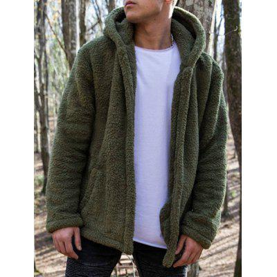 Men's Fashion Casual Warm Fuzz Hoodie Jacket Solid Color