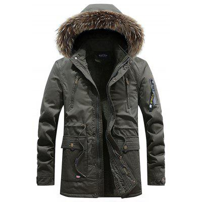 Men's Hooded Parka Casual Long Sleeves  Zipper Coat
