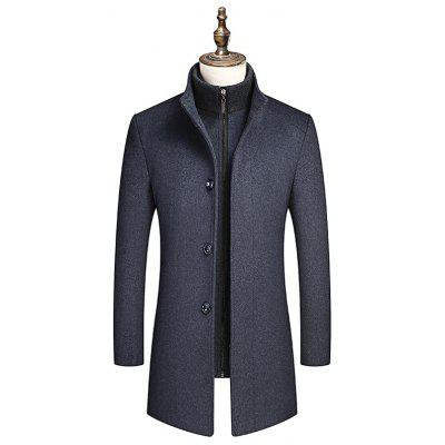 Men Business Woolen Coat with Detachable Liner