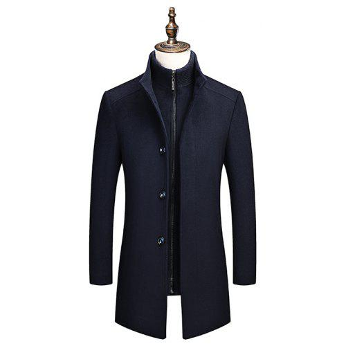 YOUTHUP Mens Coats Regular Fit Wool Trench Coat Thick Winter Peacoats Mid-Length Military Jackets