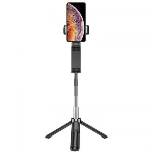 Portable Tripod Stand Extendable Rod Selfie Stick Live Streaming Phone Holder with Bluetooth Remote Shutter