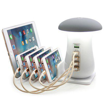 gearbest.com - Intelligent Fast Charge QC3.0 Charging Holder 5-port USB Phone Charger with Cute Mushroom Lamp