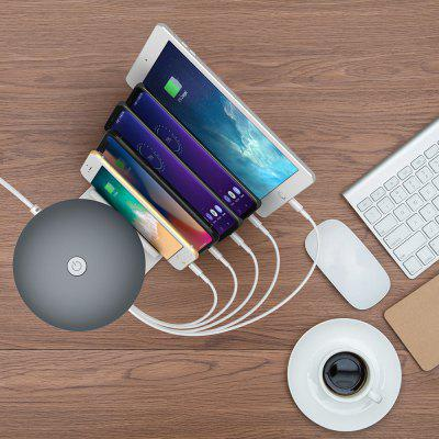 Intelligent Fast Charge QC3.0 Charging Holder 5-port USB Phone Charger with Cute Mushroom Lamp