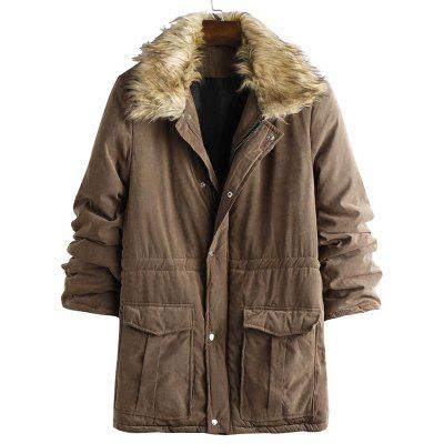 Men's Mid-length Section Parka Coat with Turn-down Fur Collar