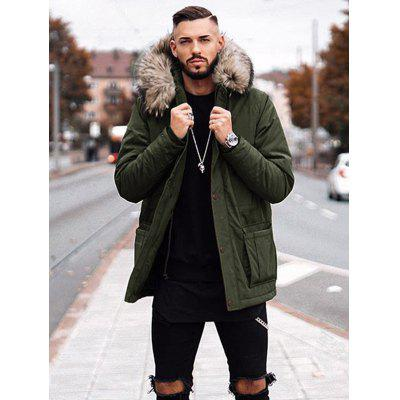 Men's Mid-length Section Parka Coat with Turn