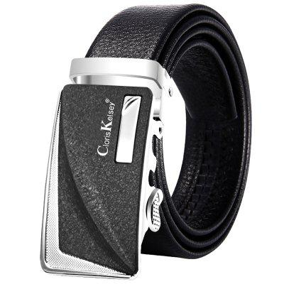 Pánská móda Patchwork Automatic Alloy Buckle Belt Leather pas Business Casual Style