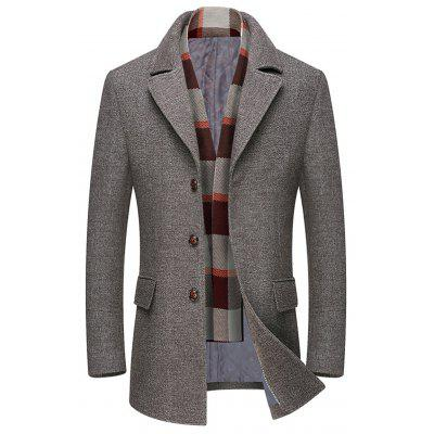 Men's Cotton Woolen Coat Solid Color Turn-down Collar