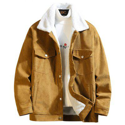 Men's Thick Corduroy Jacket Lamb Fur Cotton Coat