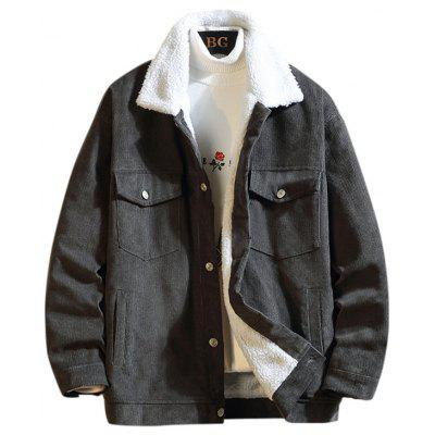 Men's Thick Corduroy Cotton Jacket Lamb Fur C