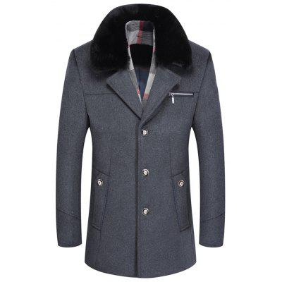 Men's Long Section Woolen Coat Thicken Cashmere Wool Overcoat for Father