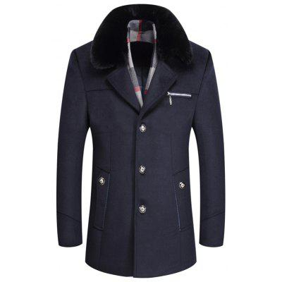 Men's Coat lange sectie Wollen Thicken Cashmere Wool Overcoat voor vader