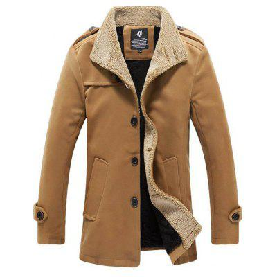 Heren Warm Lam Wool Jacket Herfst Winter Mid-length Overcoat
