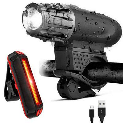 Bike Bright 200lm Front Light Taillight Set Mountain Bicycle Riding USB Charging Headlamp with Battery Power Indicator