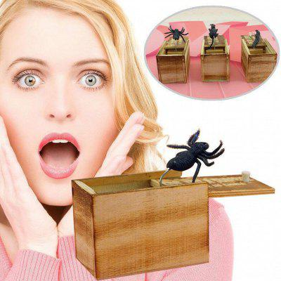 Prank Spider Box Wooden Tricky Scare Box Surprise Practical Joke Toy