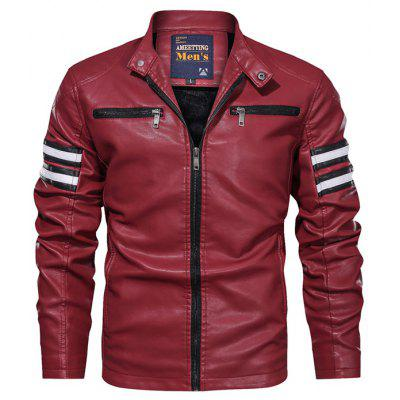 Men's PU Leather Jacket Slim Stand Collar Motorcycle Coat Korean Youth Style