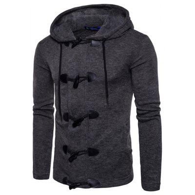 Men's Horn Button Solid Color Thick Hooded Sweater Autumn Winter Personality Cardigan Tops Clothing