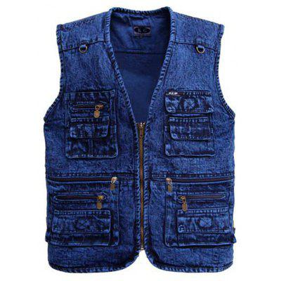 Men's Multi-bag Cowboy Vest Outer Cotton Casual Waistcoat