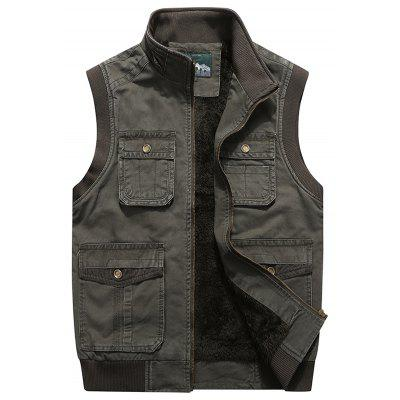 Men's Velvet Thick Multi-pocket Vest Solid Color Stand Collar Waistcoat