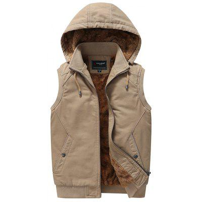 Mannen Plus Velvet Warm Vest effen kleur Hooded Vest