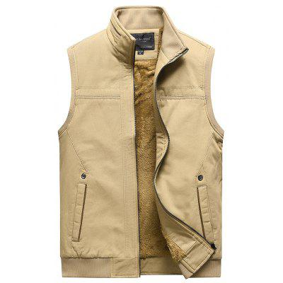 Men's Plus Velvet Warm Vest Stand Collar Solid Color Waistcoat