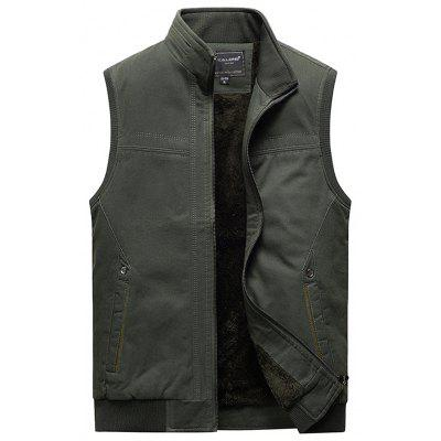 Mannen Plus Velvet Warm Vest Stand Collar Solid Color Vest