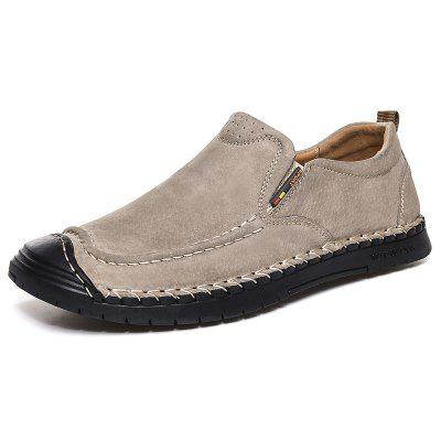 Men's Fashion Casual Pigskin Leather Shoes Soft Plus Size Hand Stitched