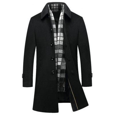 Men's Long Woolen Coat Turn-down Collar Business Overcoat