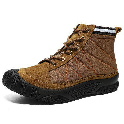 AILADUN Men's High-top Outdoor Casual Plus Velvet Boots Heavy-bottomed Non-slip Shoes Anti-collision Toe