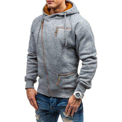 Men's Creative Zipper Decor Hoodie Concise Style Fashion Hooded Top