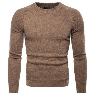 Men's Casual Pullover Sweater Round Neck Long-sleeved Knit Shirt