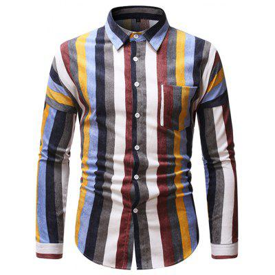 Men's Fresh Striped Long-sleeved Shirt Loose Lapel Button-down Top
