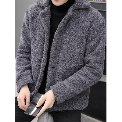 Men's Winter Furry Jacket Stand Collar Big Button Solid Color Casual Coat Large Size
