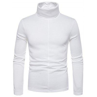 Men's Large Size High-necked Long-sleeved T-shirt Simple Solid Color Bottoming Shirt