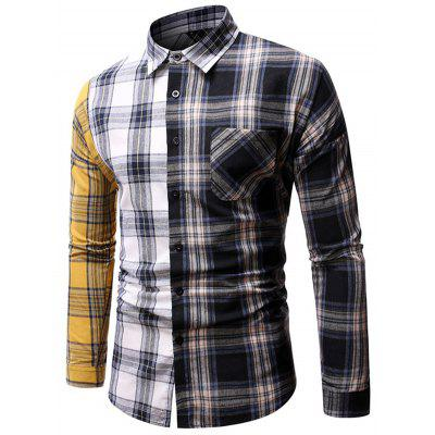 Mannen Lente Herfst Personality Patchwork Plaid Shirt Casual Loose met lange mouwen Top