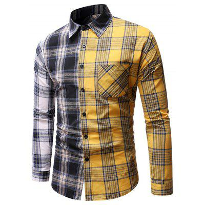 Men's Spring Autumn Personality Patchwork Plaid Shirt Casual Loose Long-sleeved Top