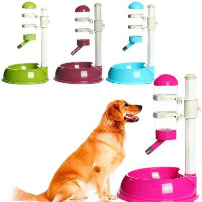 Automatic Dual Usage Pet Feeder Waterer Dog Cat Stainless Steel Ball Water Outlet + Foods Bowl