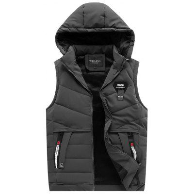 Men's Fashion Detachable Hooded Vest Zipper Warm Warm Sleeveless Top