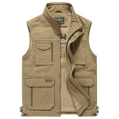 Men Stand Collar Multi-pocket Vest Fashion Printed Lining Sleeveless Top
