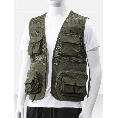 Men's Fashion Hollow Out Multi-pocket Vest Heldere kleuren mouwen Ademende Top