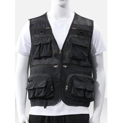 Men Fashion Hollow Out Multi-buzunar Vest culori solide Maieuri respirabile Top