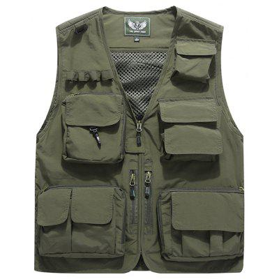Heren Multi-pocket effen kleur Vest mouwen V-hals Tooling Top