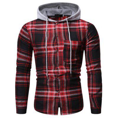 Men's Casual Plaid Hooded Shirt Patchwork Button-down Top