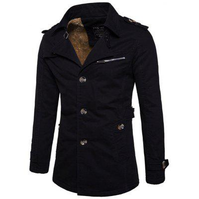 Men's Thick Lapel Button-down Trench Fashion Long Coat with Shoulder Strap