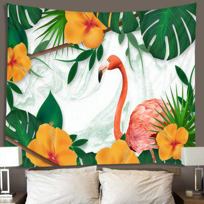Cartoon Flamingo Tropical Foliage Pattern Tapestry Home Decor Blanket