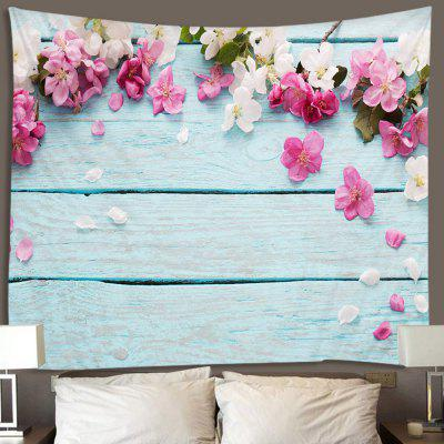 Fresh Flowers Wood Pattern Tapestry Home Decor Blanket