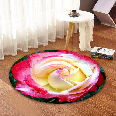Lovely Roses Printed Coral Fleece Carpet Round Home Decor Round Mat