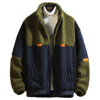 Men's Winter Fashion Patchwork Coat Casual Jacket Zipper Top
