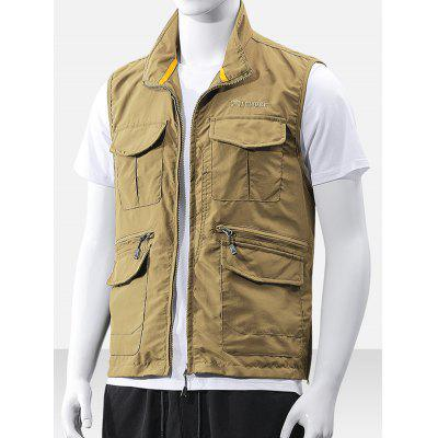 Heren Multi-pocket Vest Simple Zipper Sleeveless Top